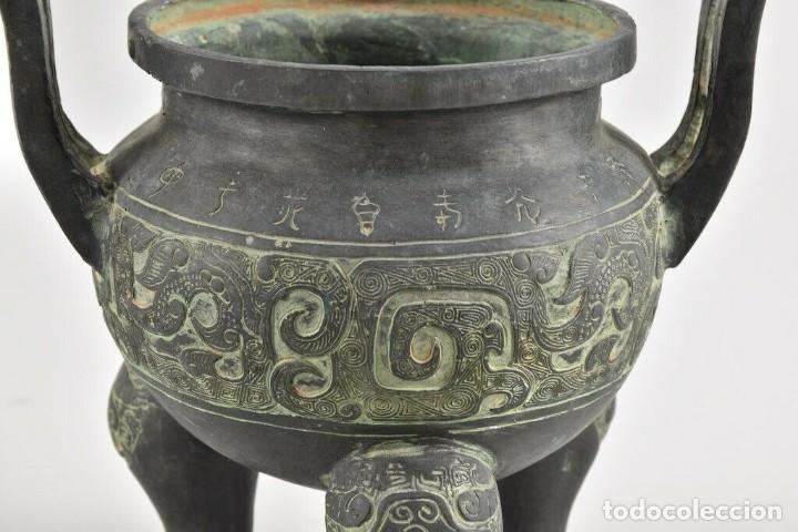 Antigüedades: Antiguo quemador de incienso Koro, incensario China S.XVIII CERAMICA BRONCE 20 cm dinastía, Qing, - Foto 3 - 240952570
