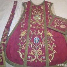 Antigüedades: RO15. CASULLA ANTIGUA SIGLO XIX (CON ESTOLA, BOLSA DE CORPORALES, CUELLO CAPA PLUVIAL Y CORTINÓN). Lote 240975465