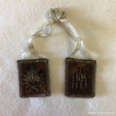 Antigüedades: RELIGIOSO. ANTIGUO ESCAPULARIO. VIRGEN DEL CARMEN. CARMELITAS. IHS. Lote 240991560