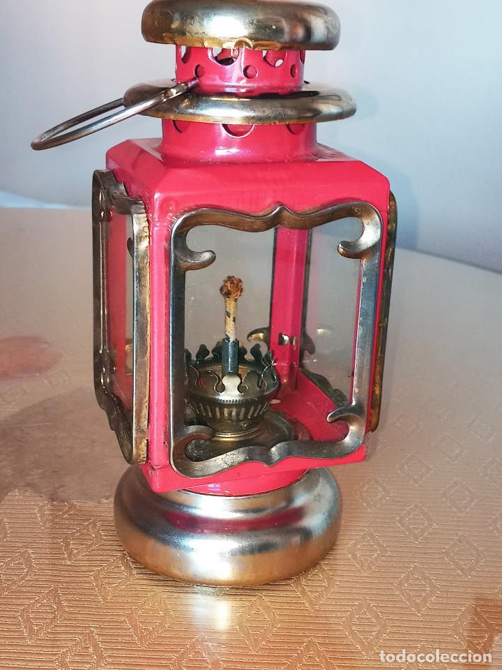 Antigüedades: LAMPARA QUINQUEL - FAROL DE PETROLEO. LATON. ESPEJOS CRISTAL. DESCRIPCION Y FOTOS. - Foto 7 - 240992020