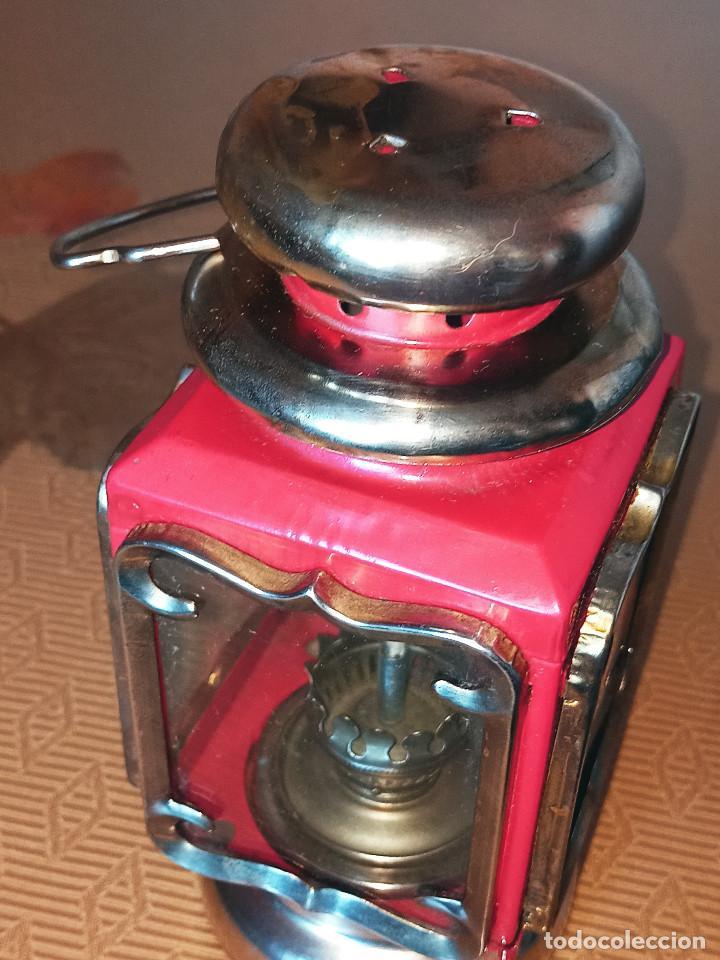 Antigüedades: LAMPARA QUINQUEL - FAROL DE PETROLEO. LATON. ESPEJOS CRISTAL. DESCRIPCION Y FOTOS. - Foto 3 - 240992020
