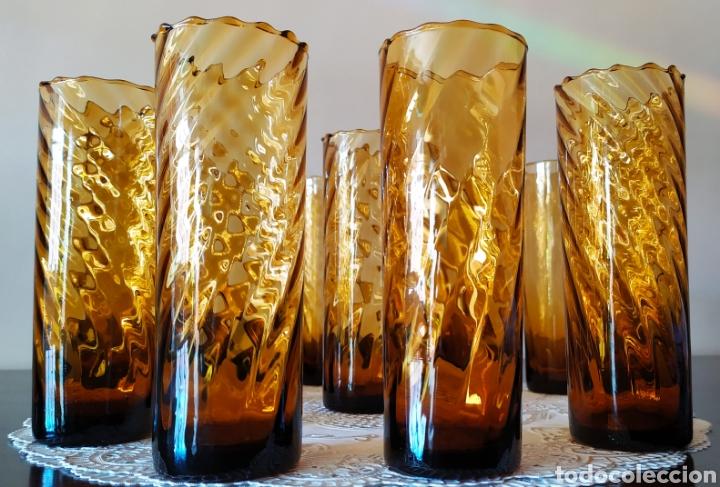 Antigüedades: Vasos + Jarra Ámbar Vidrio Soplado. NUEVO. - Foto 2 - 240996230