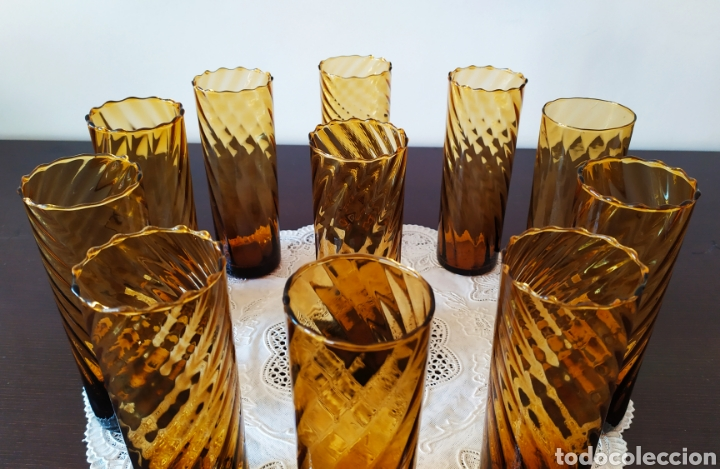 Antigüedades: Vasos + Jarra Ámbar Vidrio Soplado. NUEVO. - Foto 3 - 240996230