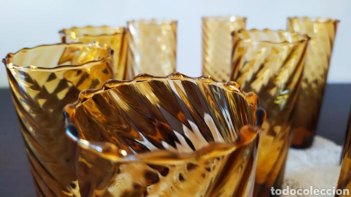 Antigüedades: Vasos + Jarra Ámbar Vidrio Soplado. NUEVO. - Foto 5 - 240996230