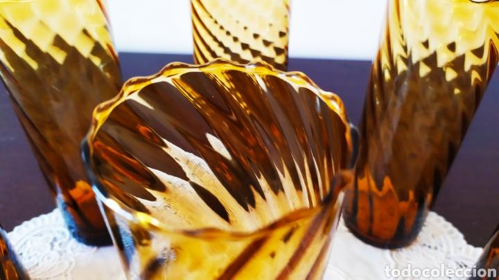 Antigüedades: Vasos + Jarra Ámbar Vidrio Soplado. NUEVO. - Foto 6 - 240996230