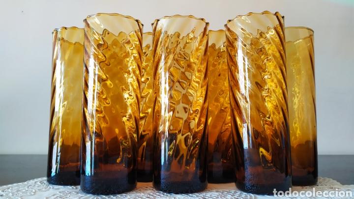 Antigüedades: Vasos + Jarra Ámbar Vidrio Soplado. NUEVO. - Foto 7 - 240996230