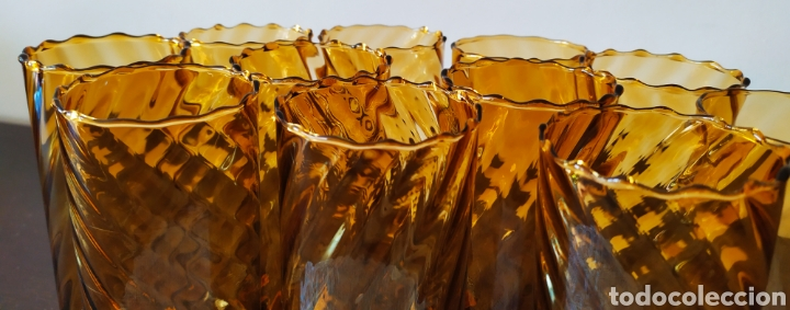 Antigüedades: Vasos + Jarra Ámbar Vidrio Soplado. NUEVO. - Foto 8 - 240996230