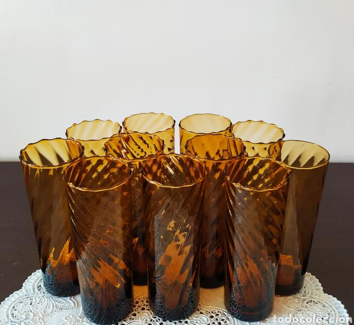 Antigüedades: Vasos + Jarra Ámbar Vidrio Soplado. NUEVO. - Foto 9 - 240996230
