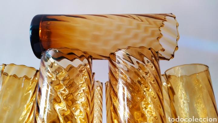 Antigüedades: Vasos + Jarra Ámbar Vidrio Soplado. NUEVO. - Foto 10 - 240996230