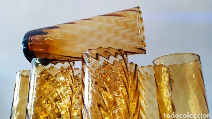 Antigüedades: Vasos + Jarra Ámbar Vidrio Soplado. NUEVO. - Foto 11 - 240996230