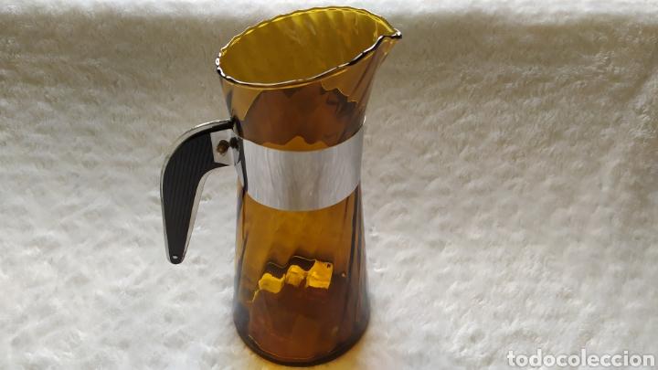 Antigüedades: Vasos + Jarra Ámbar Vidrio Soplado. NUEVO. - Foto 18 - 240996230