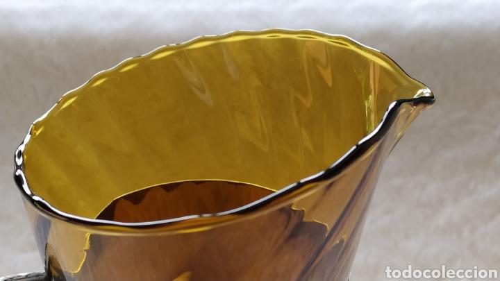 Antigüedades: Vasos + Jarra Ámbar Vidrio Soplado. NUEVO. - Foto 23 - 240996230