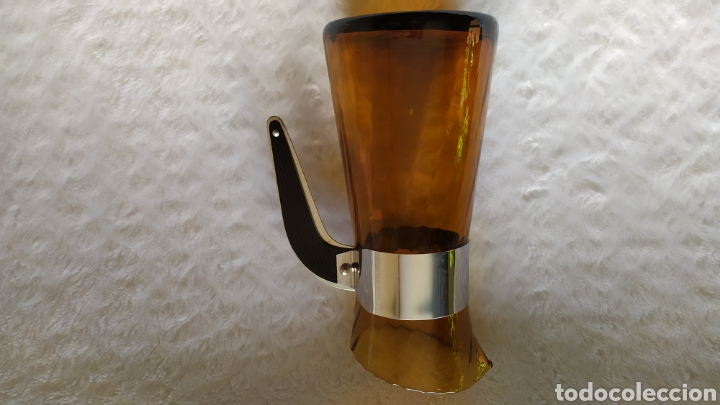 Antigüedades: Vasos + Jarra Ámbar Vidrio Soplado. NUEVO. - Foto 25 - 240996230
