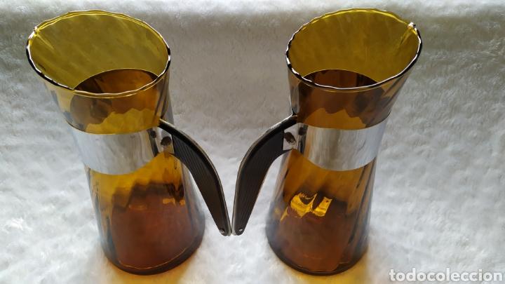 Antigüedades: Vasos + Jarra Ámbar Vidrio Soplado. NUEVO. - Foto 27 - 240996230