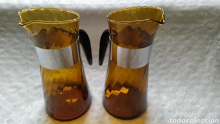 Antigüedades: Vasos + Jarra Ámbar Vidrio Soplado. NUEVO. - Foto 28 - 240996230