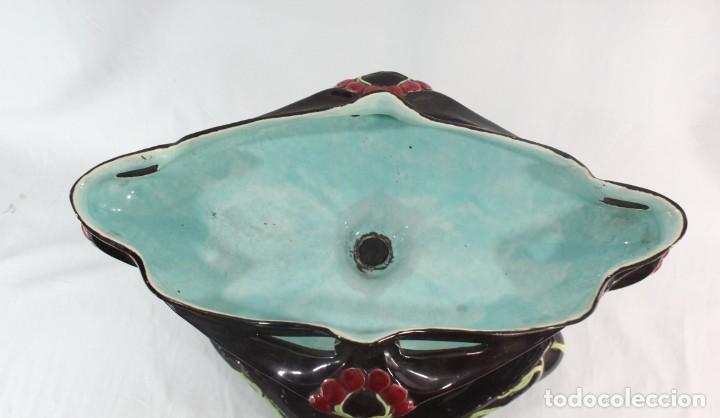 Antigüedades: Gran centro Art Nouveau en mayolica. ca 1890 WS&S Wiihelm Schiller & Son Large majolica compote dish - Foto 13 - 241003860