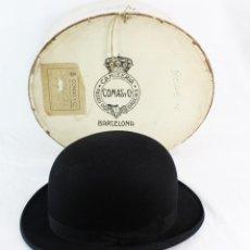 Antiguidades: BOMBÍN CHRISTYS LONDON PARA COMAS & CIA BARCELONA CA 1910 TALLA 56 - 57 EN CAJA ORGINAL. Lote 241021920