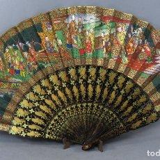 Antigüedades: ABANICO DE MADERA LACADA Y DORADA CON PAIS MIL CARAS EN PAPEL PINTADO CHINA FINALES DEL SIGLO XIX. Lote 241055160