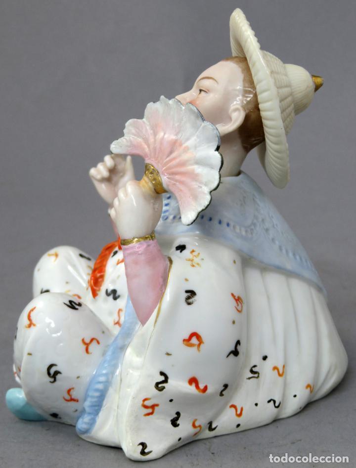 Antigüedades: Figura personaje chino en porcelana vidriada con cabeza móvil Europa principios del siglo XX - Foto 7 - 241055945