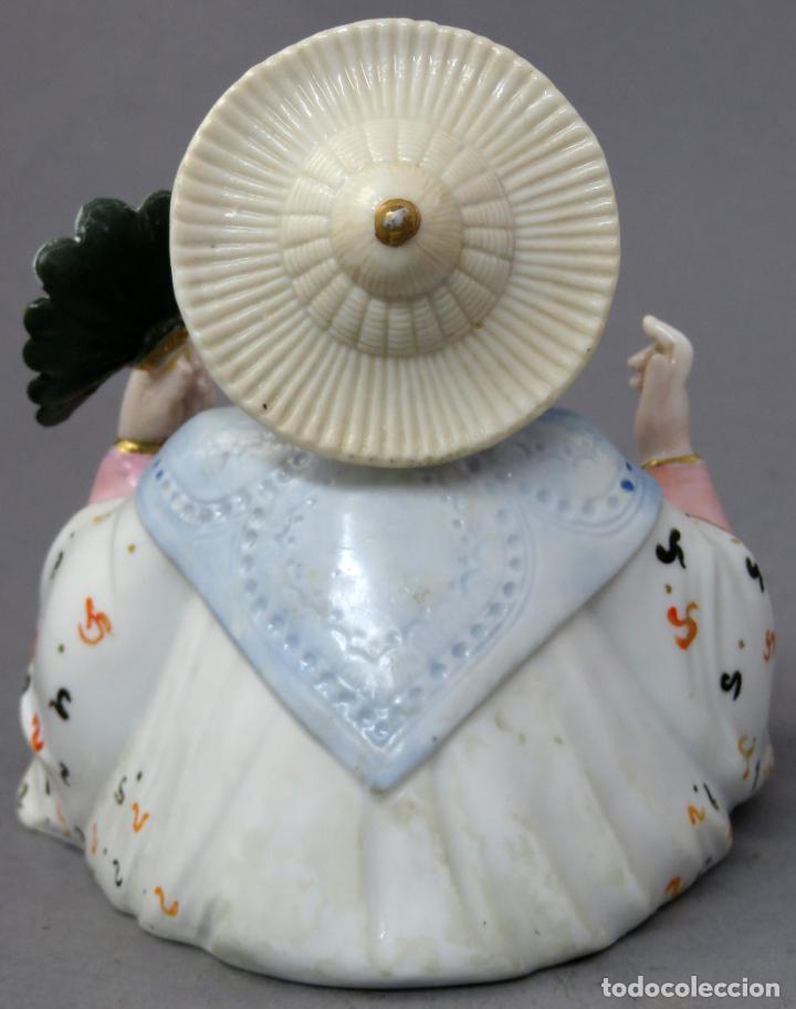 Antigüedades: Figura personaje chino en porcelana vidriada con cabeza móvil Europa principios del siglo XX - Foto 8 - 241055945