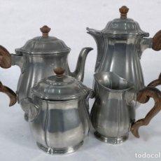 Antigüedades: JUEGO DE CAFÉ FRANCÉS EN ESTAÑO Y MADERA MADERA MARCA ETAIN D'ART PRINCIPIOS SIGLO XX. Lote 241207040