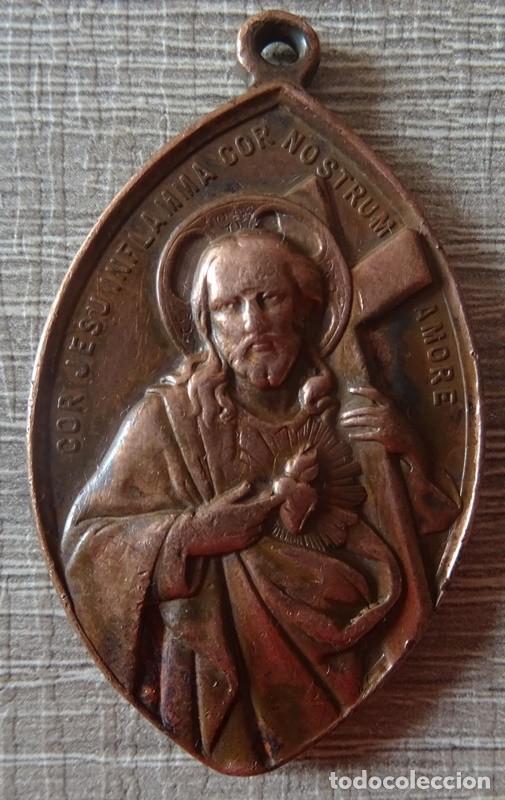Antigüedades: MEDALLA RELIGIOSA COR JESU INFLAMMA COR NOSTRUM AMORE - Foto 2 - 241277300