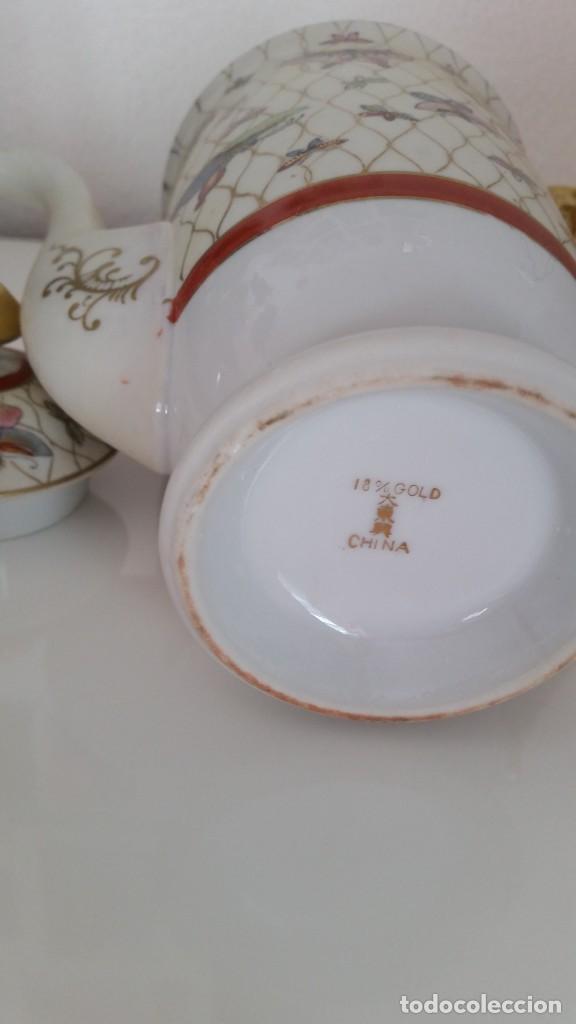 Antigüedades: PRECIOSA CAFETEIRA PORCELANA PINTADA A MANO GOLD 18K MAD CHINAHECHA Y PINTADA A MANO - Foto 4 - 241284390