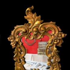 Antigüedades: ANTIGUA CORNUCOPIA, ESPEJO DE MADERA DORADA AL ORO FINO. SIGLO XIX. 65X46. Lote 241454155