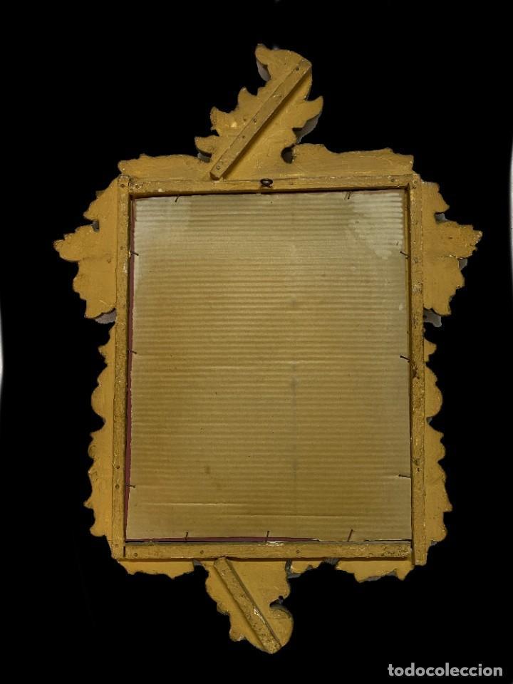 Antigüedades: Antigua cornucopia, espejo de madera dorada al oro fino. Siglo XIX. 65x46 - Foto 2 - 241454155