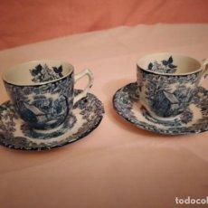 Antigüedades: ANTIGUO TU Y YO DE CAFÉ, PORCELANA MILL STREAM JOHNSON BROS MADE IN ENGLAND.AZUL.. Lote 241778765