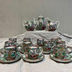 Antigüedades: JUEGO DE TÉ CAFE PORCELANA CHINA ROSA. Lote 241801675