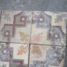 Antigüedades: LOTE DE 4 ANTIGUAS BALDOSAS CON DIBUJO MOSAICO HIDRAULICO DEL SIGLO XIX. Lote 241828870