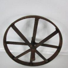Antigüedades: ANTIGUA RUEDA DE CARRETILLA, CARRO - HIERRO FORJADO - DIÁMETRO 36 CM. Lote 241860225