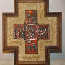 Antigüedades: ANTIGUO ESMALTE DE MODEST MORATÓ CON ESCENAS BIBLICAS EN LA CRUZ. Lote 241865015