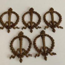 Antiquités: ADORNOS PARA MUEBLE.BRONCE ANTORCHA LAUREADA. 5 PIEZAS. 12,5X8,5 CM. Lote 241931155