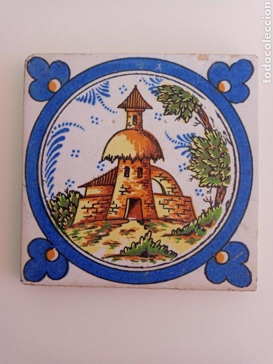 ANTIGUO AZULEJO DE TRIANA. TORRE, CAMPO Y CAMPANARIO. (Antigüedades - Porcelanas y Cerámicas - Triana)