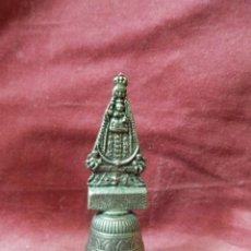 Antigüedades: CAMPANA ANTIGUA DE VIRGEN CON NIÑO JESUS. METAL PLATEADO. Lote 242064170