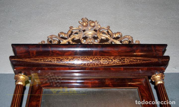Antigüedades: Espectacular consola antigua del siglo XIX - Molduras doradas, motivos naturales y espejo opaco - Foto 4 - 242119770