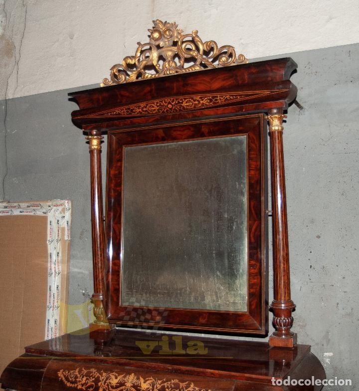 ESPECTACULAR CONSOLA ANTIGUA DEL SIGLO XIX - MOLDURAS DORADAS, MOTIVOS NATURALES Y ESPEJO OPACO (Antigüedades - Muebles Antiguos - Consolas Antiguas)
