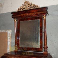 Antigüedades: ESPECTACULAR CONSOLA ANTIGUA DEL SIGLO XIX - MOLDURAS DORADAS, MOTIVOS NATURALES Y ESPEJO OPACO. Lote 242119770