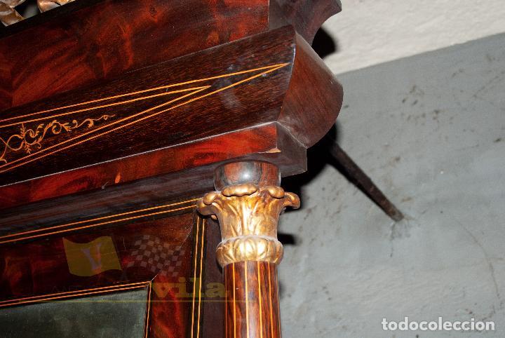 Antigüedades: Espectacular consola antigua del siglo XIX - Molduras doradas, motivos naturales y espejo opaco - Foto 10 - 242119770
