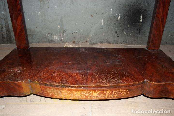 Antigüedades: Espectacular consola antigua del siglo XIX - Molduras doradas, motivos naturales y espejo opaco - Foto 11 - 242119770