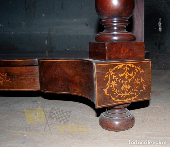 Antigüedades: Espectacular consola antigua del siglo XIX - Molduras doradas, motivos naturales y espejo opaco - Foto 13 - 242119770