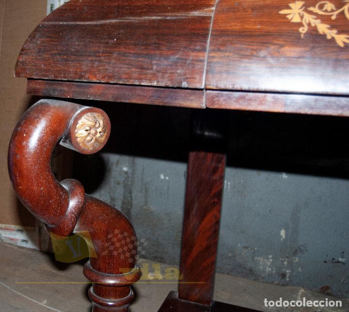 Antigüedades: Espectacular consola antigua del siglo XIX - Molduras doradas, motivos naturales y espejo opaco - Foto 15 - 242119770