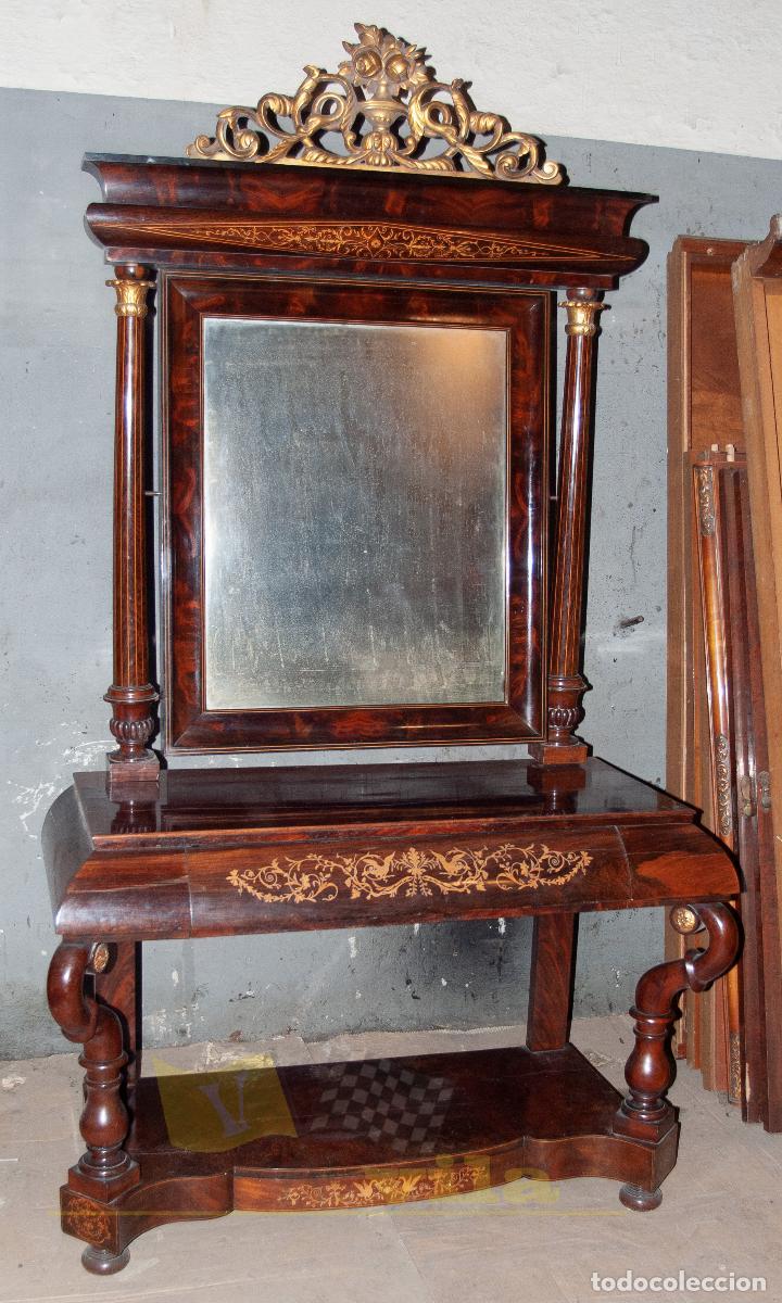 Antigüedades: Espectacular consola antigua del siglo XIX - Molduras doradas, motivos naturales y espejo opaco - Foto 5 - 242119770