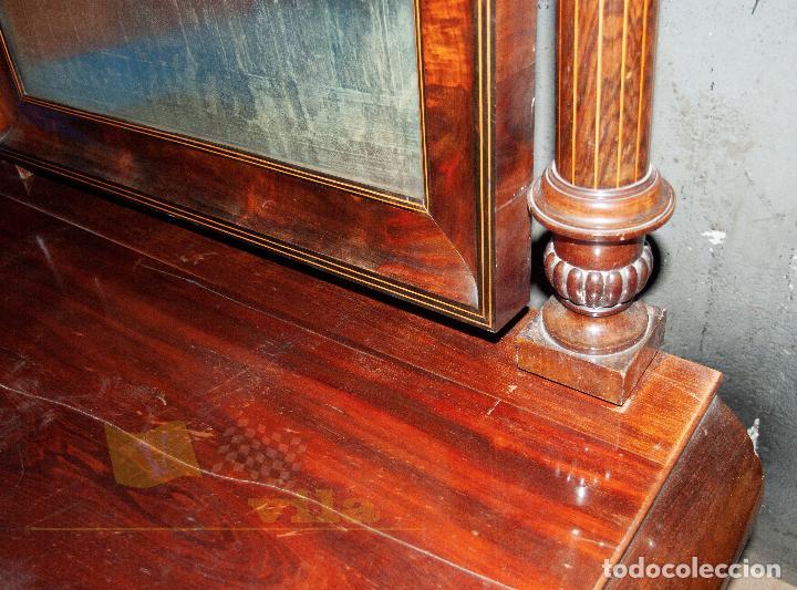 Antigüedades: Espectacular consola antigua del siglo XIX - Molduras doradas, motivos naturales y espejo opaco - Foto 16 - 242119770