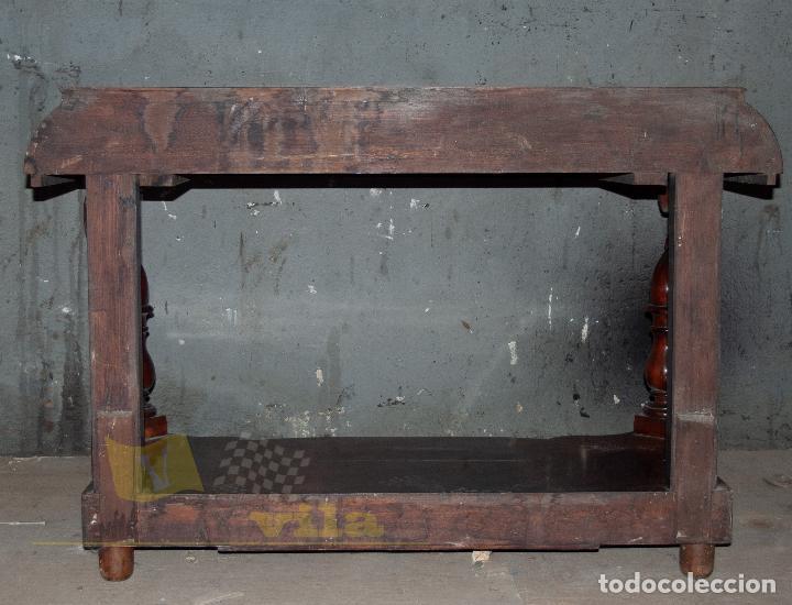 Antigüedades: Espectacular consola antigua del siglo XIX - Molduras doradas, motivos naturales y espejo opaco - Foto 24 - 242119770