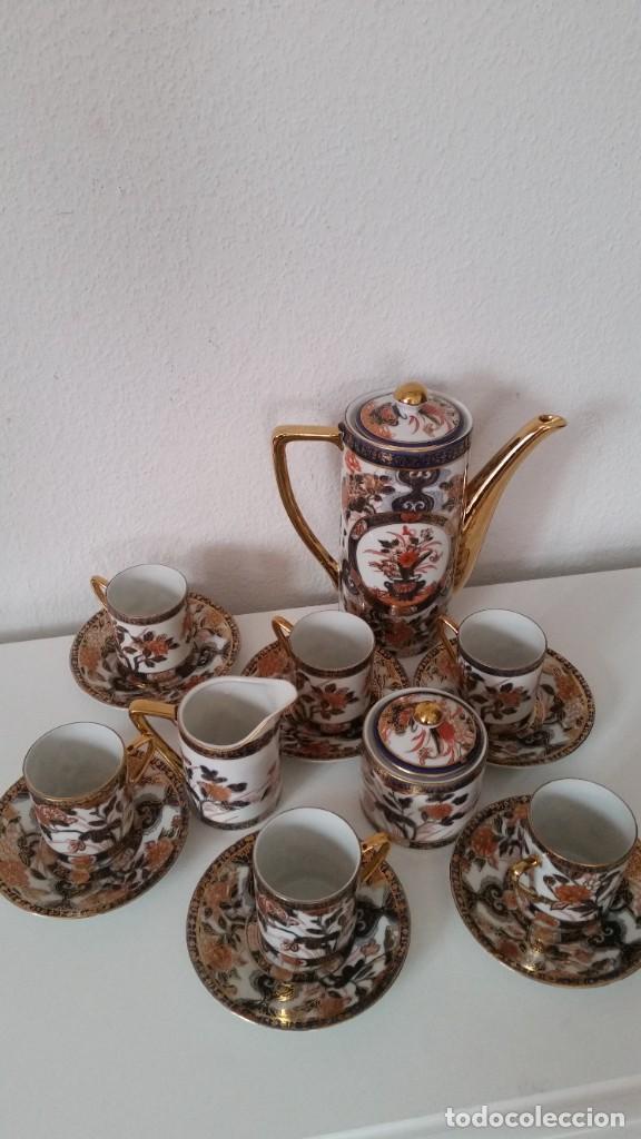 EXPLENDIDO SERVICIO DE CAFE PORCELANA SA JI FINE CHINA JAPAN ,HECO Y PINTADO A MANO (Antigüedades - Porcelana y Cerámica - Japón)
