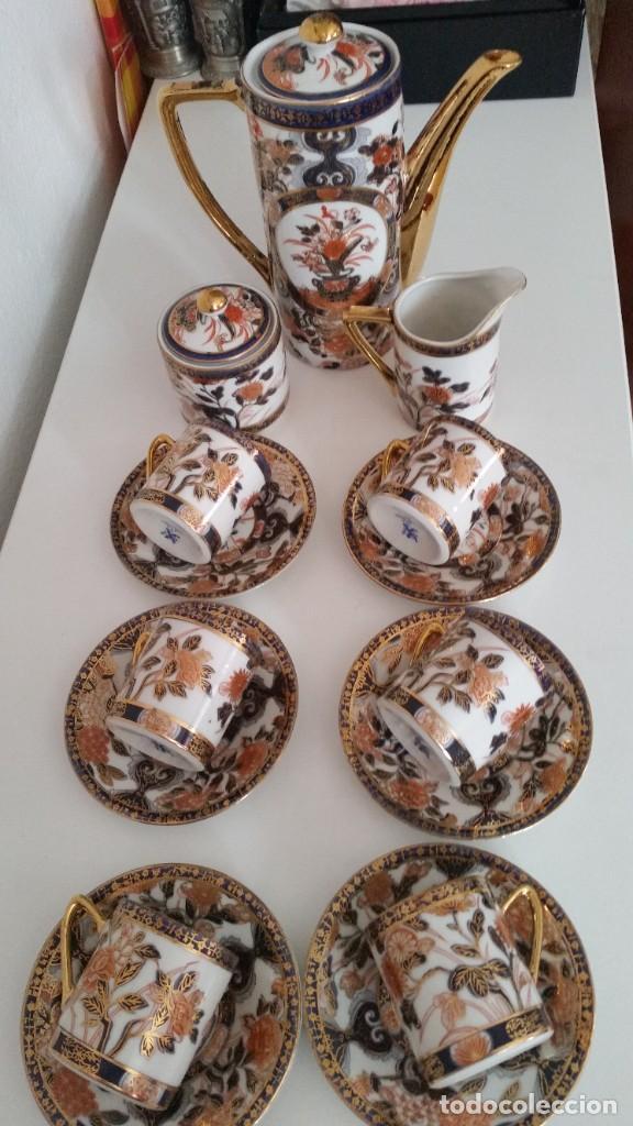 Antigüedades: EXPLENDIDO SERVICIO DE CAFE PORCELANA SA JI FINE CHINA JAPAN ,HECO Y PINTADO A MANO - Foto 2 - 242144345