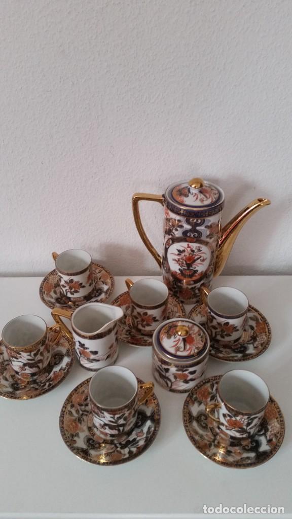 Antigüedades: EXPLENDIDO SERVICIO DE CAFE PORCELANA SA JI FINE CHINA JAPAN ,HECO Y PINTADO A MANO - Foto 3 - 242144345